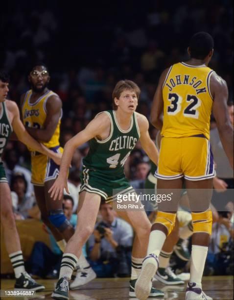 Los Angeles Lakers Magic Johnson and Boston Celtics Danny Ainge during 1985 NBA Finals between Los Angeles Lakers and Boston Celtics, June 2, 1985 in...