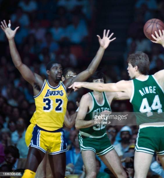 Los Angeles Lakers Magic Johnson battles Boston Celtics Danny Ainge during 1985 NBA Finals between Los Angeles Lakers and Boston Celtics, June 2,...