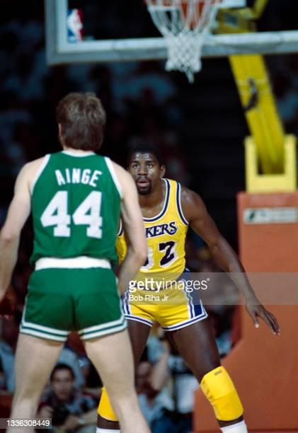 Los Angeles Lakers Magic Johnson defends against Boston Celtics Danny Ainge during 1985 NBA Finals between Los Angeles Lakers and Boston Celtics,...