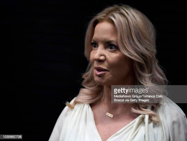 Los Angeles Lakers owner Jeanie Buss chats before the El Segundo 2018 Champions of Business celebration and award ceremony at the Lakers practice...