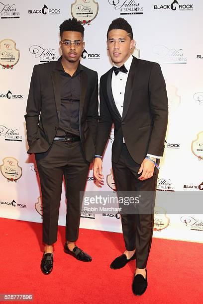 Los Angeles Lakers player D'Angelo Russell and Phoenix Suns player Devin Booker attend The 6th Annual Fillies Stallions Kentucky Derby party hosted...