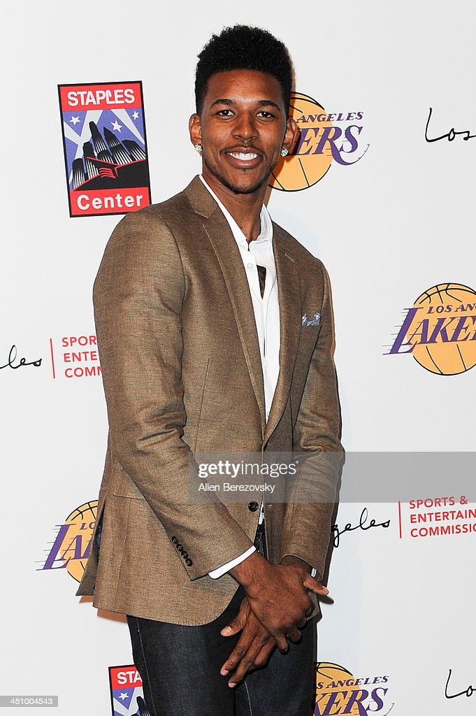 Los Angeles Lakers player Nick Young attends the Los Angeles Sports and Entertainment Commission's 10th annual Lakers All-Access event at Staples Center on November 20, 2013 in Los Angeles, California.