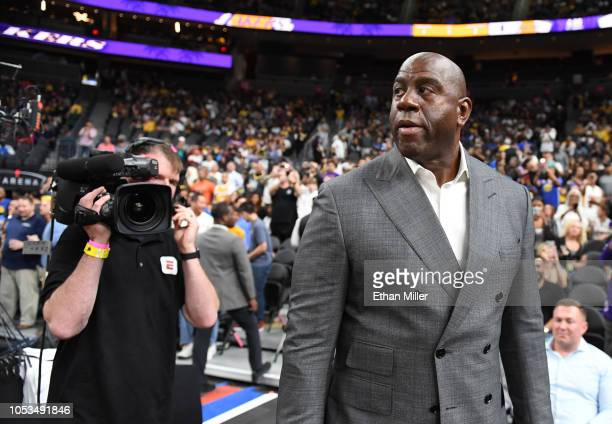 Los Angeles Lakers president of basketball operations Earvin Magic Johnson arrives at the Lakers' preseason game against the Golden State Warriors at...