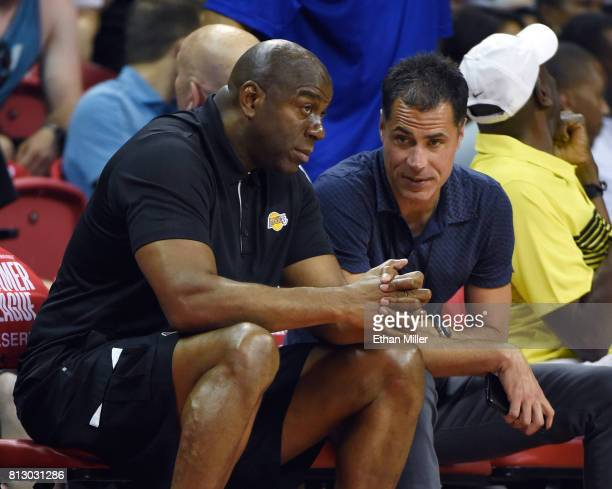 Los Angeles Lakers president of basketball operations Earvin 'Magic' Johnson and Lakers general manager Rob Pelinka talk during a 2017 Summer League...
