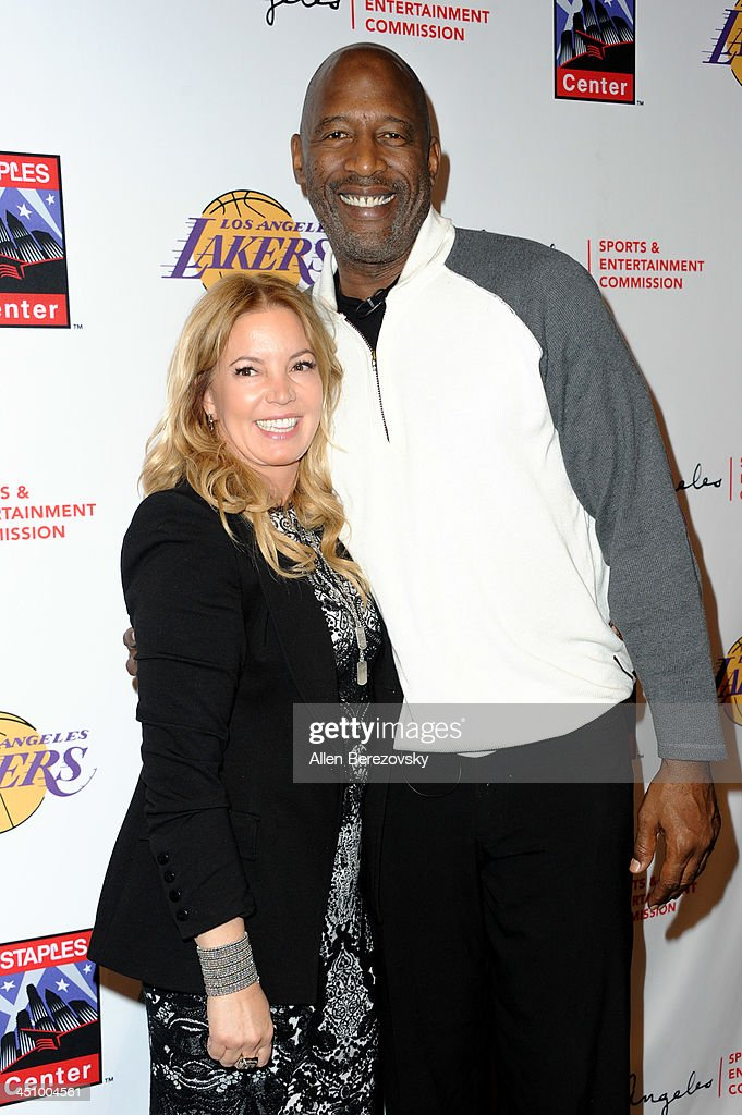 Los Angeles Lakers president of business operations Jeanie Buss and former NBA player James Worthy attend the Los Angeles Sports and Entertainment Commission's 10th annual Lakers All-Access event at Staples Center on November 20, 2013 in Los Angeles, California.