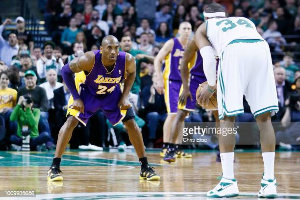 Los Angeles Lakers shooting guard Kobe Bryant defends on Boston Celtics small forward Paul Pierce during the Boston Celtics 11695 victory over the...
