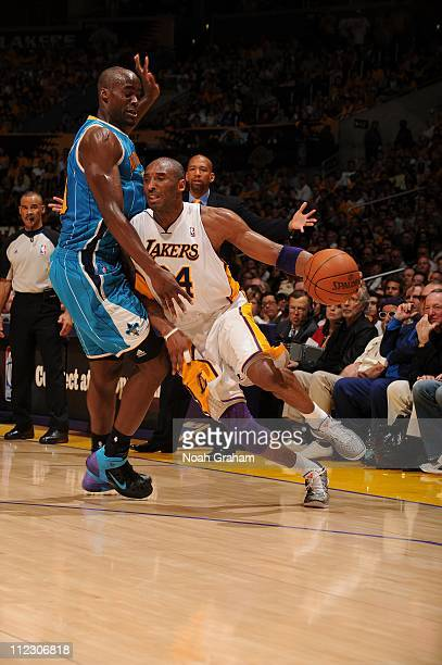 Los Angeles Lakers shooting guard Kobe Bryant drives during the game against the New Orleans Hornets in Game One of the Western Conference...