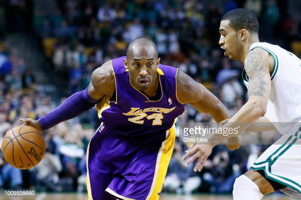 Los Angeles Lakers shooting guard Kobe Bryant drives past Boston Celtics shooting guard Courtney Lee during the Boston Celtics 11695 victory over the...