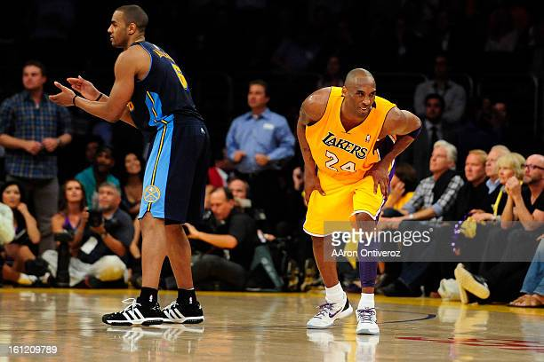 Los Angeles Lakers shooting guard Kobe Bryant reacts to missing a late three against the Denver Nuggets during the second half of the Nuggets 10299...