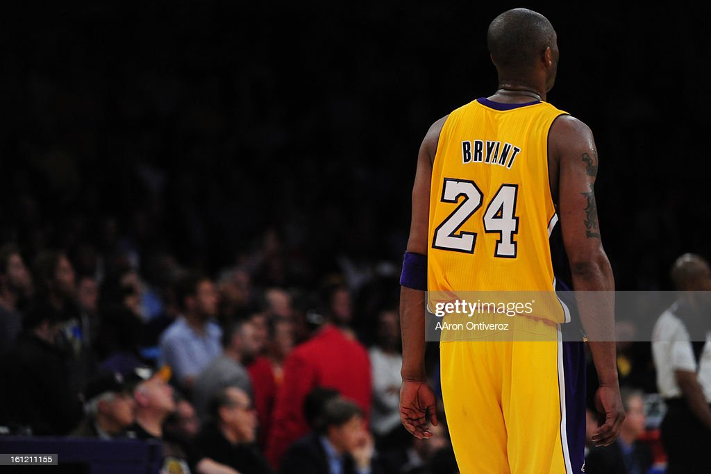 Los Angeles Lakers shooting guard Kobe Bryant (24) takes a breather against the Denver Nuggets during the second half of the Lakers' 104-100 NBA Playoffs game two win at the Staples Center in Los Angeles on Tuesday, May 1, 2012. AAron Ontiveroz, The Denve : News Photo