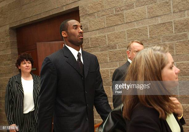 Los Angeles Lakers star Kobe Bryant along with his attorney Pamela Mackey investigator Rivka Morgan Sherman and security Ed Killam leave the Eagle...