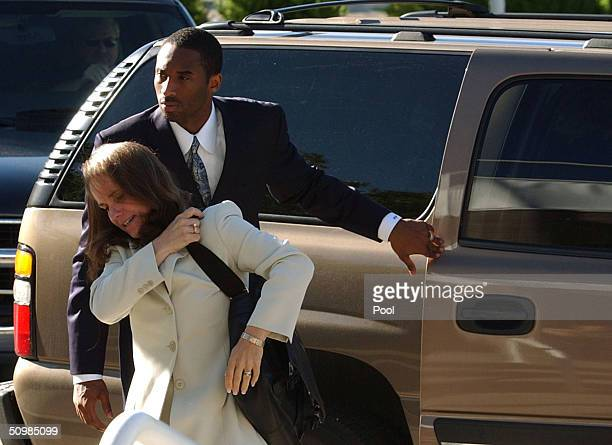 Los Angeles Lakers Star Kobe Bryant and his attorney Pamela Mackey arrive at the Eagle County Justice Center June 22 2004 in Eagle Colorado Bryant...