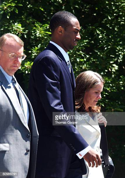 Los Angeles Lakers Star Kobe Bryant and his attorney Pamela Mackey leave the Eagle County Justice Center June 22 2004 in Eagle Colorado Bryant who is...
