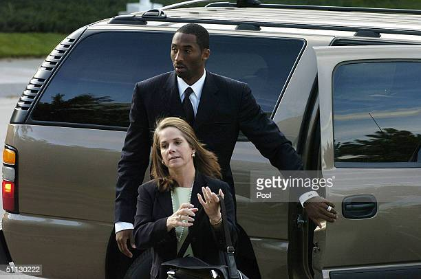 Los Angeles Lakers star Kobe Bryant and his attorney Pamela Mackey arrive at the Eagle County Justice Center for pretrial hearings July 30 2004 in...