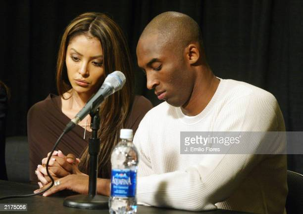 Los Angeles Lakers star Kobe Bryant and his wife Vanessa appear at news conference at Staples Center the home of the Lakers July 18 2003 in Los...