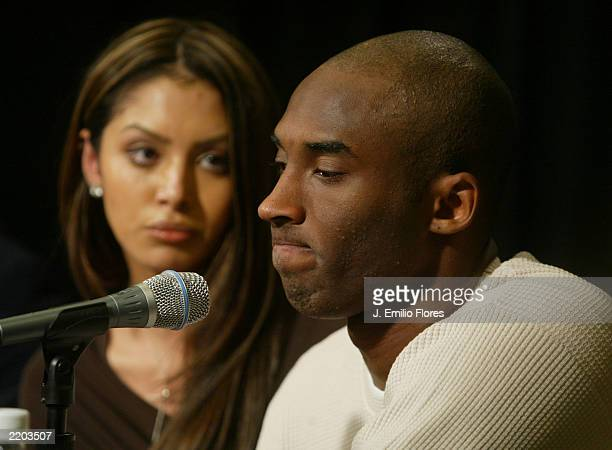 Los Angeles Lakers star Kobe Bryant and his wife Vanessa attend a news conference at Staples Center the home of the Lakers July 18 2003 in Los...