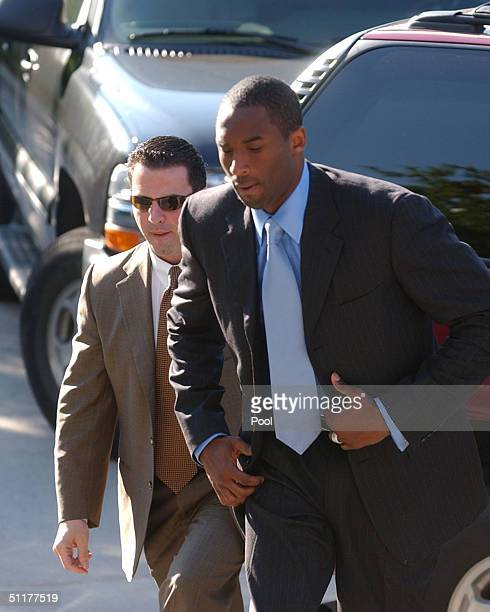 Los Angeles Lakers star Kobe Bryant arrives at the Eagle County Justice Center August 16 2004 for the last day of hearings before the August 27 trail...