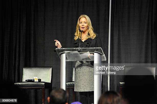 Los Angeles Lakers team President Jeanie Buss speaks at the 12th Annual Lakers AllAccess Event at Staples Center on January 25 2016 in Los Angeles...