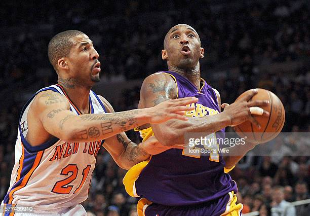 Los Angeles Lakers Vs New York Knicks at Madison Square Garden Knicks Wlison Chandler tries to stop Lakers Kobe Bryant on a drive in the first quarter