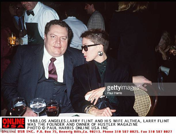 1988 Los Angeles Larry Flint owner and founder of Hustler Magazine with his wife Althea at a Los Angeles party