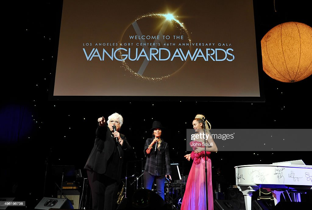 Los Angeles LGBT Center board member LuAnn Boylan, musician Linda Perry, and honoree Miley Cyrus speak onstage at the Los Angeles LGBT Center 46th Anniversary Gala Vanguard Awards at the Hyatt Regency Century Plaza on November 7, 2015 in Century City, California.