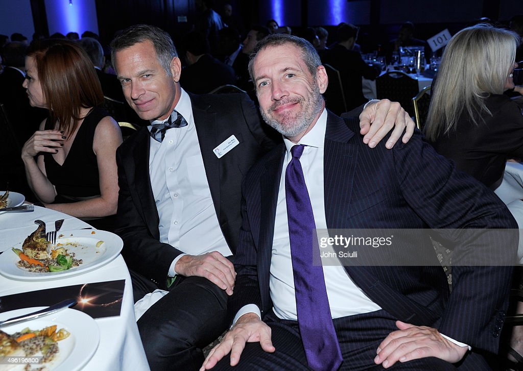 Los Angeles LGBT Center Chief Marketing Officer Jim Key (L) and guest attend the Los Angeles LGBT Center 46th Anniversary Gala Vanguard Awards at the Hyatt Regency Century Plaza on November 7, 2015 in Century City, California.