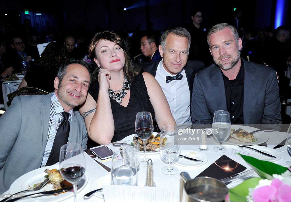 Los Angeles LGBT Center Chief Marketing Officer Jim Key (2nd R) and guests attend the Los Angeles LGBT Center 46th Anniversary Gala Vanguard Awards at the Hyatt Regency Century Plaza on November 7, 2015 in Century City, California.