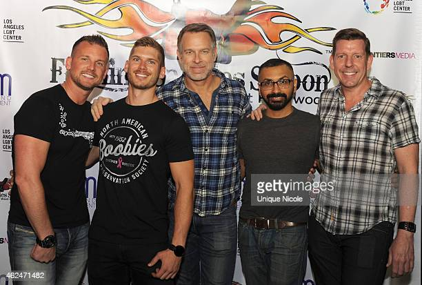 Los Angeles LGBT Center Chief Marketing Officer Jim Key with Aman Chaudhary Troy Devers and Joseph Matthews and Brandon Brown attend Flaming Saddles...