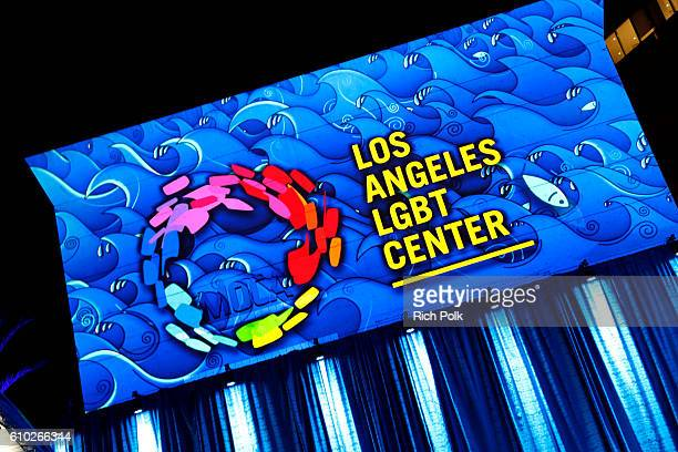 Los Angeles LGBT Center logo is seen onstage at the Los Angeles LGBT Center 47th Anniversary Gala Vanguard Awards at Pacific Design Center on...