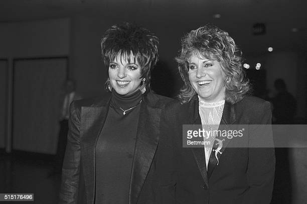 Liza Minnelli and her sister Lorna Luft are all smiles as they walk into a fundraiser for the No on Proposition 64 campaign at the Westin Bonaventure...