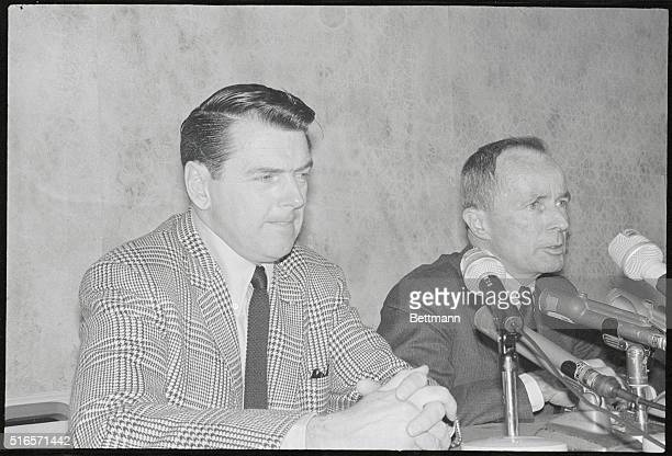 Los Angeles Rams president Daniel F Reeves tells news conference that the Rams have just hired George Allen to succeed Harland and Svare as Rams head...