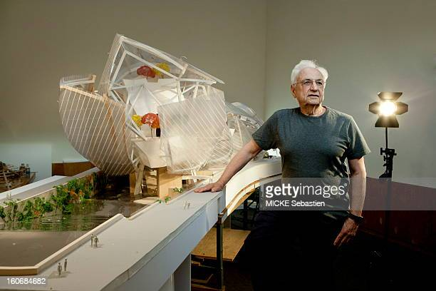 Los Angeles May 31 2011 photo shoot with Frank Gehry which presents the premises of his office Gehry Partners the very latest model of the 'cloud of...