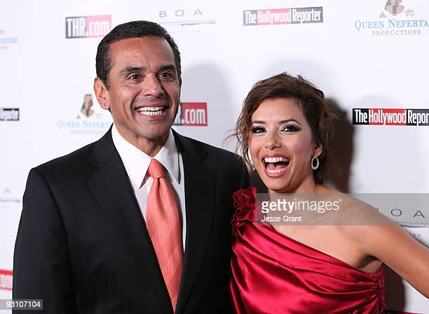 Los Angeles Mayor Antonio Villaraigosa and Actress Eva Longoria Parker arrive at Hollywood Reporter's philanthropist of the year award reception held...