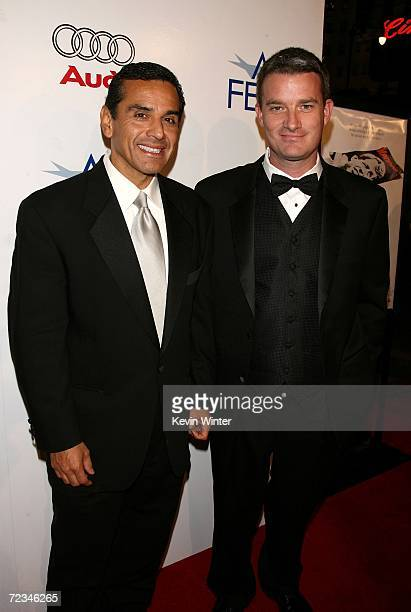 Los Angeles mayor Antonio Villaraigosa and AFI FEST director Christian Gaines arrive at the AFI FEST presented by Audi opening night gala of Bobby at...