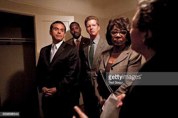 Los Angeles Mayor Antonio Villaraigosa and Congresswoman Maxine Waters tour foreclosed homes in south central Los Angeles with HUD Secretary Shaun...