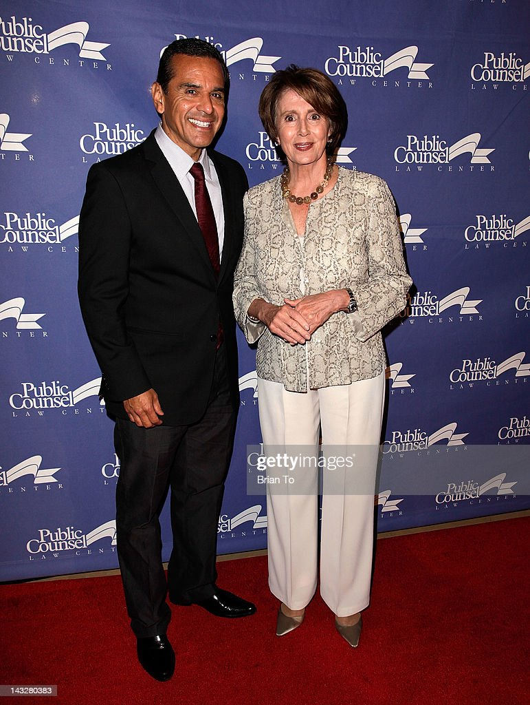 Los Angeles Mayor Antonio Villaraigosa and Democratic Leader Nancy Pelosi attend Public Counsel's 2012 William O. Douglas dinner honoring Nobel Prize-winning author Elie Wiesel at The Beverly Hilton Hotel on April 22, 2012 in Beverly Hills, California.