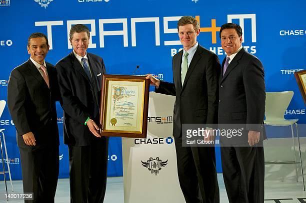 Los Angeles Mayor Antonio Villaraigosa Chariman of California for Chase Bank Peter Barker CEO of Chase Consumer Banking Ryan McInerney and Councilman...