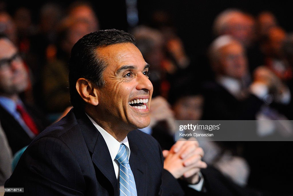 Los Angeles Mayor Antonio Villaraigosa during an event announcing naming rights for the new football stadium Farmers Field at Los Angeles Convention Center on February 1, 2011 in Los Angeles, California. AEG has reportedly sold the naming rights for the proposed stadium to Farmers Insurance Exchange for $650,000, calling the stadium 'Farmers Field.'