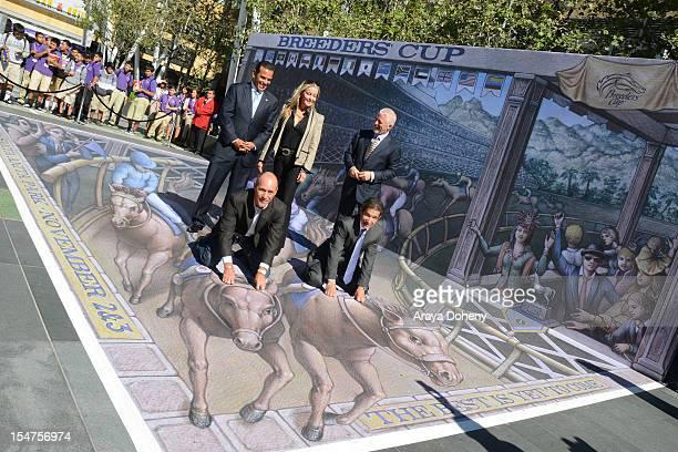 Los Angeles Mayor Antonio Villaraigosa, Gary Stevens, Bo Derek, Laffit Pincay, Jr. And Keith Brackpool attend the Breeders' Cup World Championships...