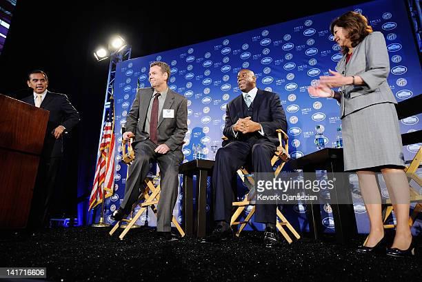 Los Angeles Mayor Antonio Villaraigosa introduces panel members Los Angeles Times Business Editor John Corrigan Chairman and CEO of Magic Johnson...