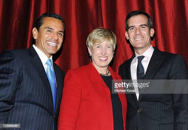 Los Angeles Mayor Antonio Villaraigosa Los Angeles City Controller Wendy Greuel and Los Angeles City Councilman Eric Garcetti attend sbe's Grand...