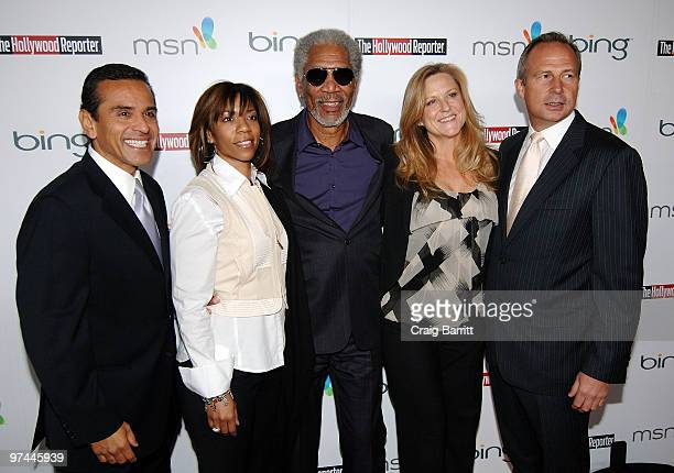 Los Angeles Mayor Antonio Villaraigosa Morgana Freeman actor Morgan Freeman producer Lori McCreary and Publisher of The Hollywood Reporter Eric Mika...