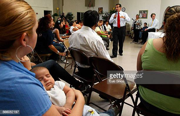 Los Angeles Mayor Antonio Villaraigosa participates Tuesday Aug 11 in a town hall meeting in Boyle Heights to talk about a school choice motion now...