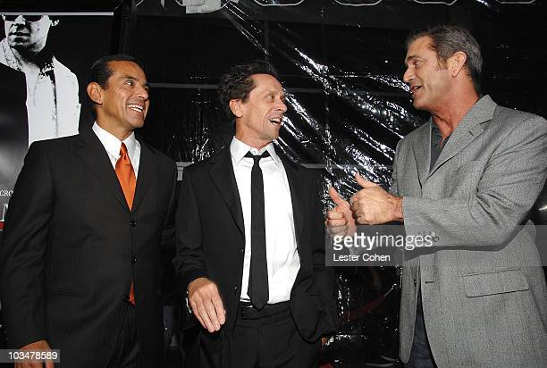 Los Angeles Mayor Antonio Villaraigosa producer Brian Grazer and actor Mel Gibson arrive to the industry screening of American Gangster at the...
