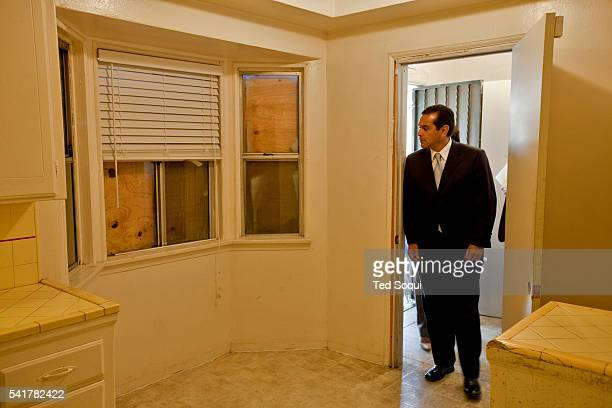 Los Angeles Mayor Antonio Villaraigosa tours foreclosed homes in south central Los Angeles A news conference was held afterwards where Secretary...