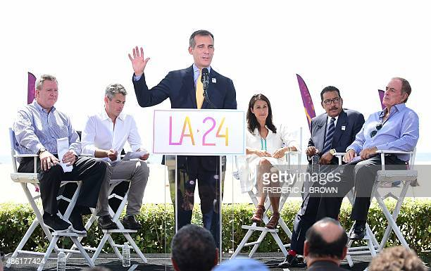 Los Angeles Mayor Eric Garcetti addresses the audience on a stage at the Annenberg Beach House in Santa Monica California on September 1 after the...