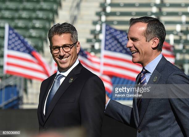 Los Angeles Mayor Eric Garcetti and LA 2024 Bid Chairman Casey Wasserman arrive to announce a deal has been reached with the International Olympic...