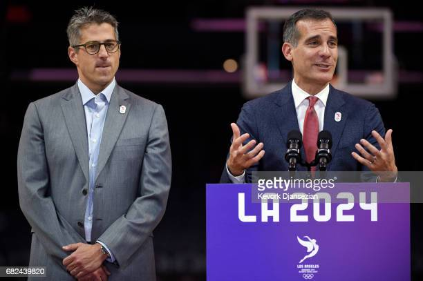 Los Angeles Mayor Eric Garcetti and LA 2024 Chairman Casey Wasserman hold a wrap up news conference following the three day visit by IOC Evaluation...