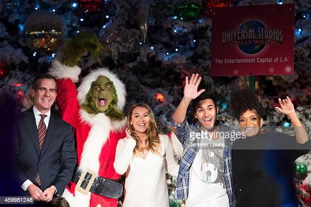 Los Angeles Mayor Eric Garcetti and actors Alexa PenaVega Carlos PenaVega and Yvette Nicole Brown attend the Universal Studios Hollywood Celebrates...