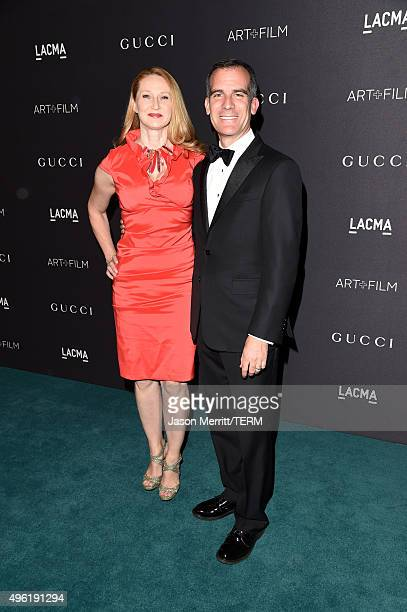Los Angeles Mayor Eric Garcetti and Amy Wakeland attend LACMA 2015 ArtFilm Gala Honoring James Turrell and Alejandro G Iñárritu Presented by Gucci at...